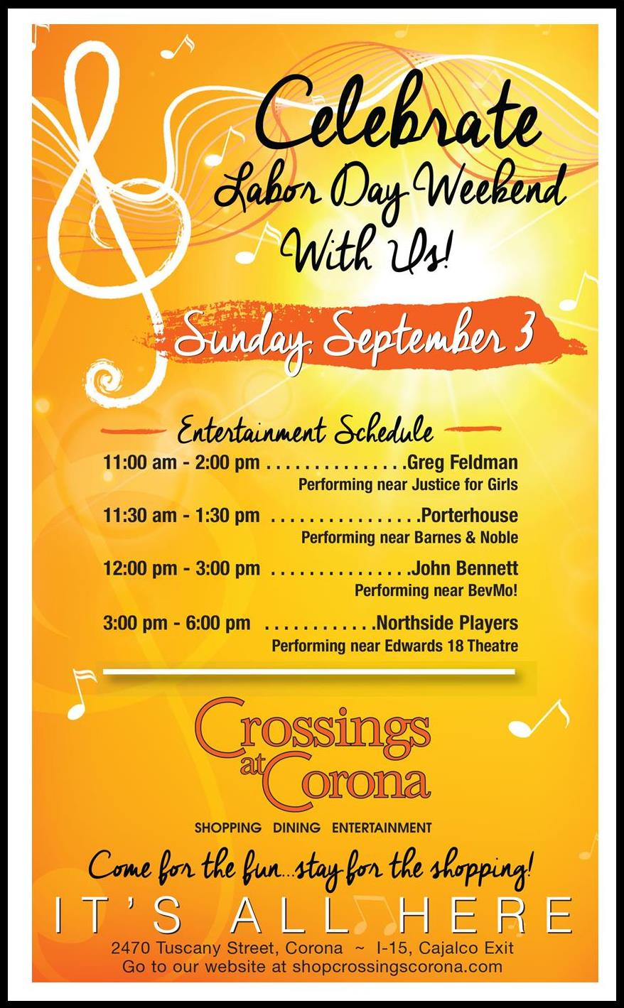 Live Music Labor Day Weekend @ Crossings at Corona