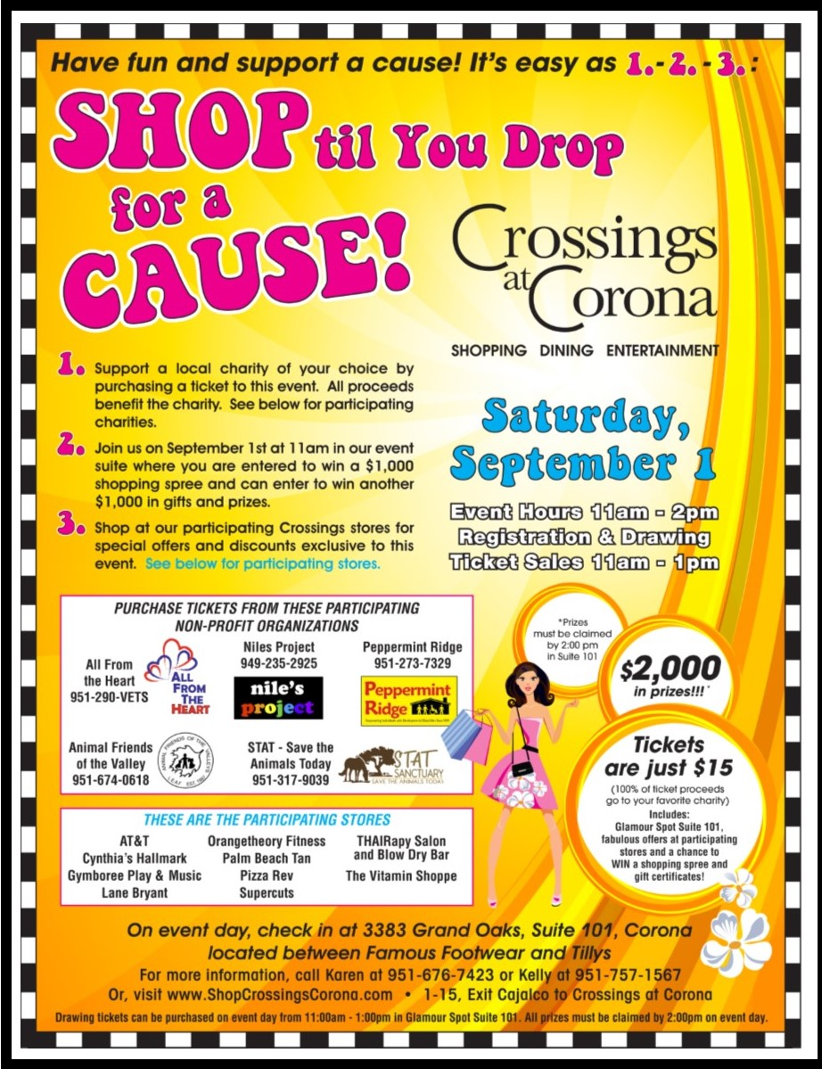 Shop til You Drop for a Cause @ Crossings at Corona  | Corona | California | United States